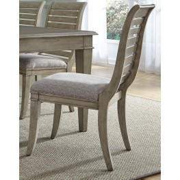 Grayton Grove Driftwood Slat Back Upholstered Side Chair Set of 2
