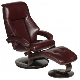 Oslo Merlot Burgundy Top Grain Leather Swivel Recliner with Ottoman