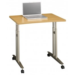 Series C Light Oak Adjustable Height Mobile Table
