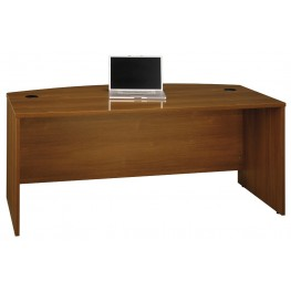 Series C Warm Oak 72 Inch Bow Front Desk Shell
