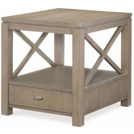 High Line Greige 1 Drawer End Table