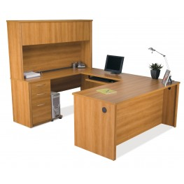 Embassy U-Shaped Cappuccino Cherry Workstation Kit
