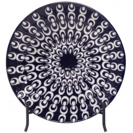 Navy Blue and White Textured Ceramic Charger with Black Iron Stand