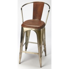 Roland Iron & Leather Barstool