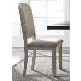 Willowrun Rustic White Upholstered Side Chair Set of 2