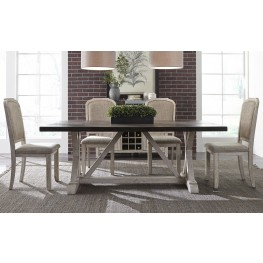 Willowrun Rustic White Trestle Dining Room Set