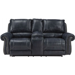 Milhaven Navy Double Power Reclining Console Loveseat