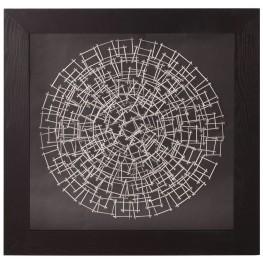 Abstract Silver & Black Nail Wall Art