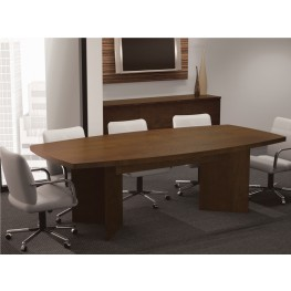 "Boat Shaped Conference Table With 1 3/4"" Melamine Top In Chocolate"