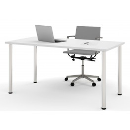 "60"" White Round Metal Leg Table"