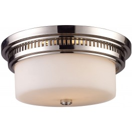Chadwick Polished Nickel And White Glass 2 Light Flushmount