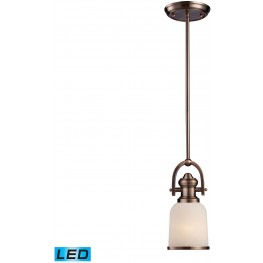 Brooksdale Antique Copper And White Glass 1 Light LED Mini Pendant