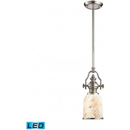 66412-1-LED Chadwick Polished Nickel And Cappa Shells 1 Light LED Pendant