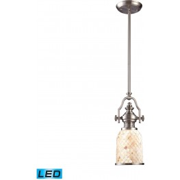 66422-1-LED Chadwick Satin Nickel And Cappa Shells 1 Light LED Pendant