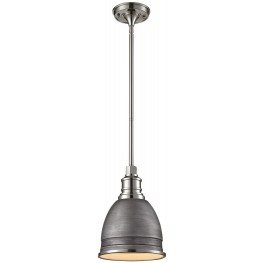 66880-1 Carolton Weathered Zinc And Polished Nickel 1 Light Pendant