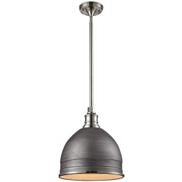 66882-1 Carolton Weathered Zinc And Polished Nickel 1 Light Pendant