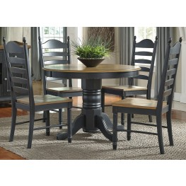Springfield II Honey and Black Extendable Pedestal Dining Room Set