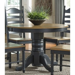 Springfield II Honey and Black Extendable Pedestal Dining Table