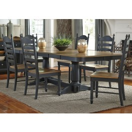 Springfield II Honey and Black Extendable Double Pedestal Dining Room Set