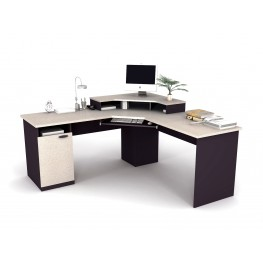 Hampton Corner Workstation In Sand Granite & Charcoal