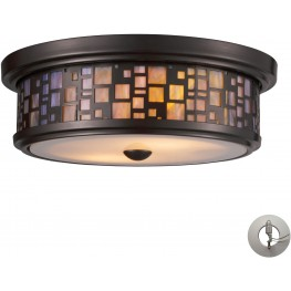 70027-2-LA Tiffany Flushes Oiled Bronze And Tea Stained Glass 2 Light Flushmount