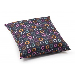 Kitten Chocolate base and mutlicolor pattern Large Pillow