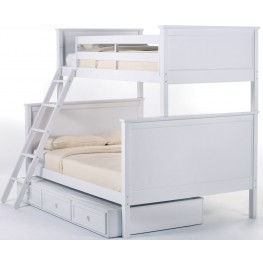 School House White Twin Over Full Bunk Bed With Trundle