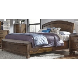 Avalon III Pebble Brown Queen Panel Storage Bed