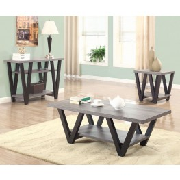 Antique Grey and Black Occasional Table Set