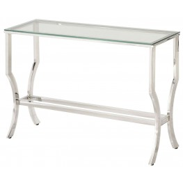 Chrome and Tempered Glass Sofa Table