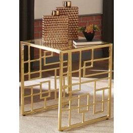City Chic Brushed Brass End Table by Donny Osmond