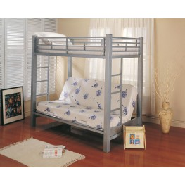 Silver Twin Over Full Bunkbed With Futon (Metal) 7399