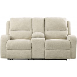Krismen Sand Power Reclining Console Loveseat with Adjustable Headrest