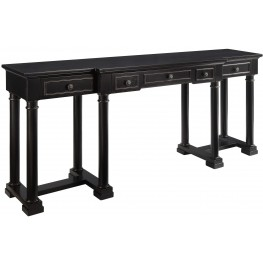 Ellijay Black And Gold 3 Drawer Console Desk