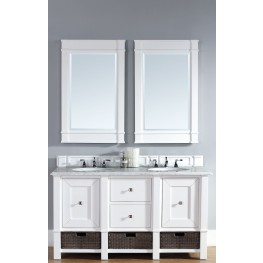 "Madison 60"" Cottage White Double Vanity With 2Cm Santa Cecilia Granite Top"