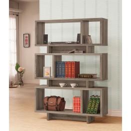 800554 Weathered Grey Wooden Bookshelf