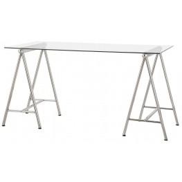 Nickel Glass Top Writing Desk