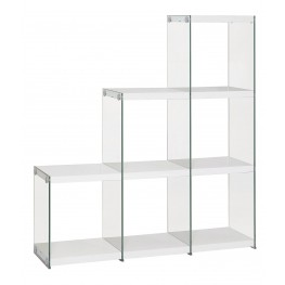 801261 Glossy White Bookcase