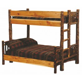 Hickory Ladder Left Queen Over Twin Bunk Bed With Hickory Rails