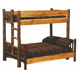 Hickory Ladder Right Full Over Twin Bunk Bed With Hickory Rails