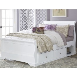 Walnut Street White Riley Full Sleigh Bed with Storage