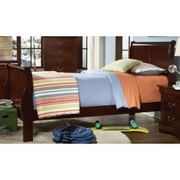 Lewiston Deep Brown Twin Sleigh Bed