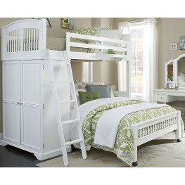 Walnut Street White Locker Twin Loft Bed With Full Lower Bed