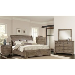 Whiskey Barrel Rustic Gray Sleigh Storage Bedroom Set