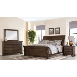 Whiskey Barrel Dark Roast Sleigh Bedroom Set