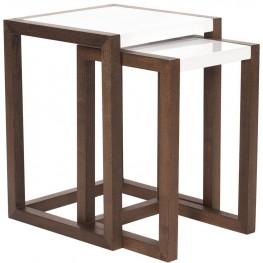 Java Brown Wood Nesting Tables Set of 2