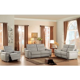 Vortex Gray Power Double Reclining Living Room Set