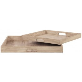 Square Wooden Trays Set of 2
