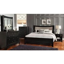 Memphis Black Upholstered Sleigh Bedroom Set