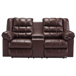 Brolayne DuraBlend Brown Double Reclining Loveseat with Console